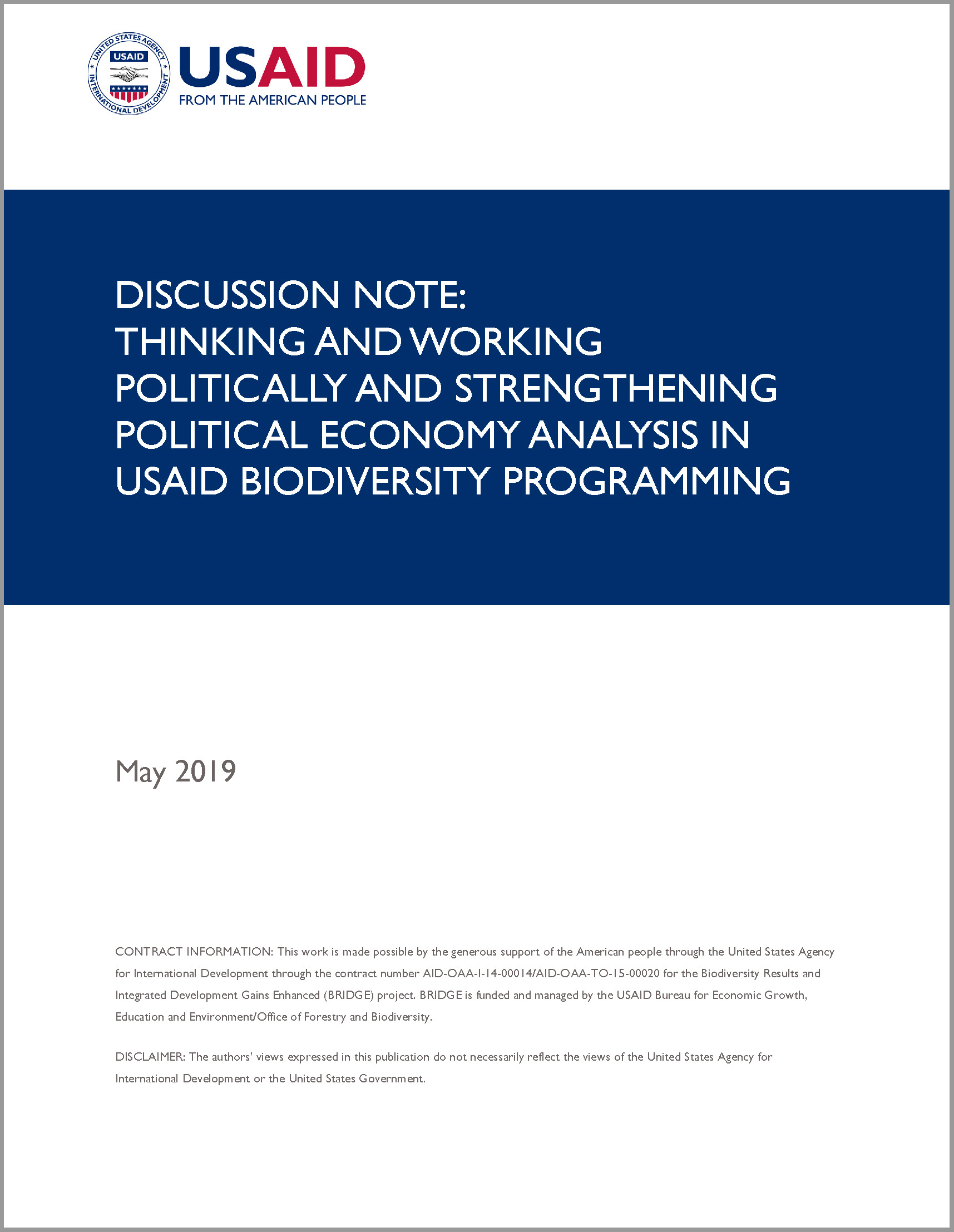 Discussion Note: Thinking and Working Politically and Strengthening Political Economy Analysis in USAID Biodiversity Programming